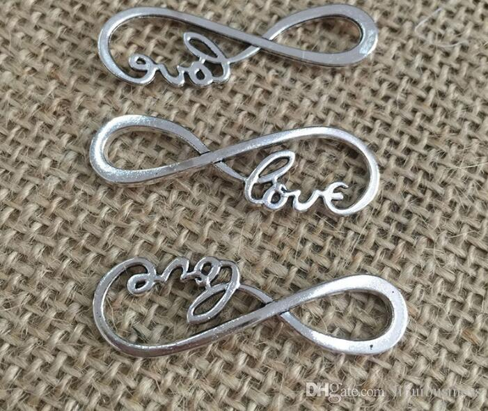 100 adet / grup Sıcak satış Diy el yapımı AŞK Konnektörler 8 infinity aşk DIY retro alaşım kolye fit bilezik kolye Antik gümüş 38x13mm takı