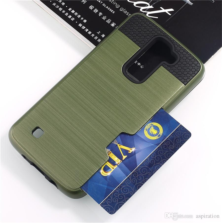 Impact Shockproof Protective Shell for LG K4 K5 K7 K8 K10 for Google Nexus 5X Back Case Cover with ID Credit Card Slot Holder