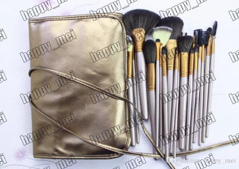 Фабрика прямой DHL Бесплатная доставка новые кисти для макияжа ню 24 шт. кисти с кожаным чехлом!