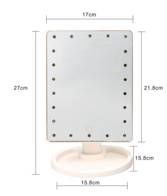 Nova Tela de Toque de 360 Graus de Rotação Compõem Espelho Cosmético Dobrável Bolso Compacto Portátil Com 16/22 Luzes LED Ferramenta de Maquiagem