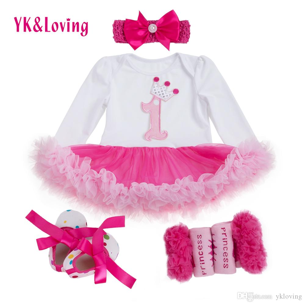 b775f7564 2019 Baby Girl Clothes 1 Year Birthday Dress Bodysuit Skirt Pink ...