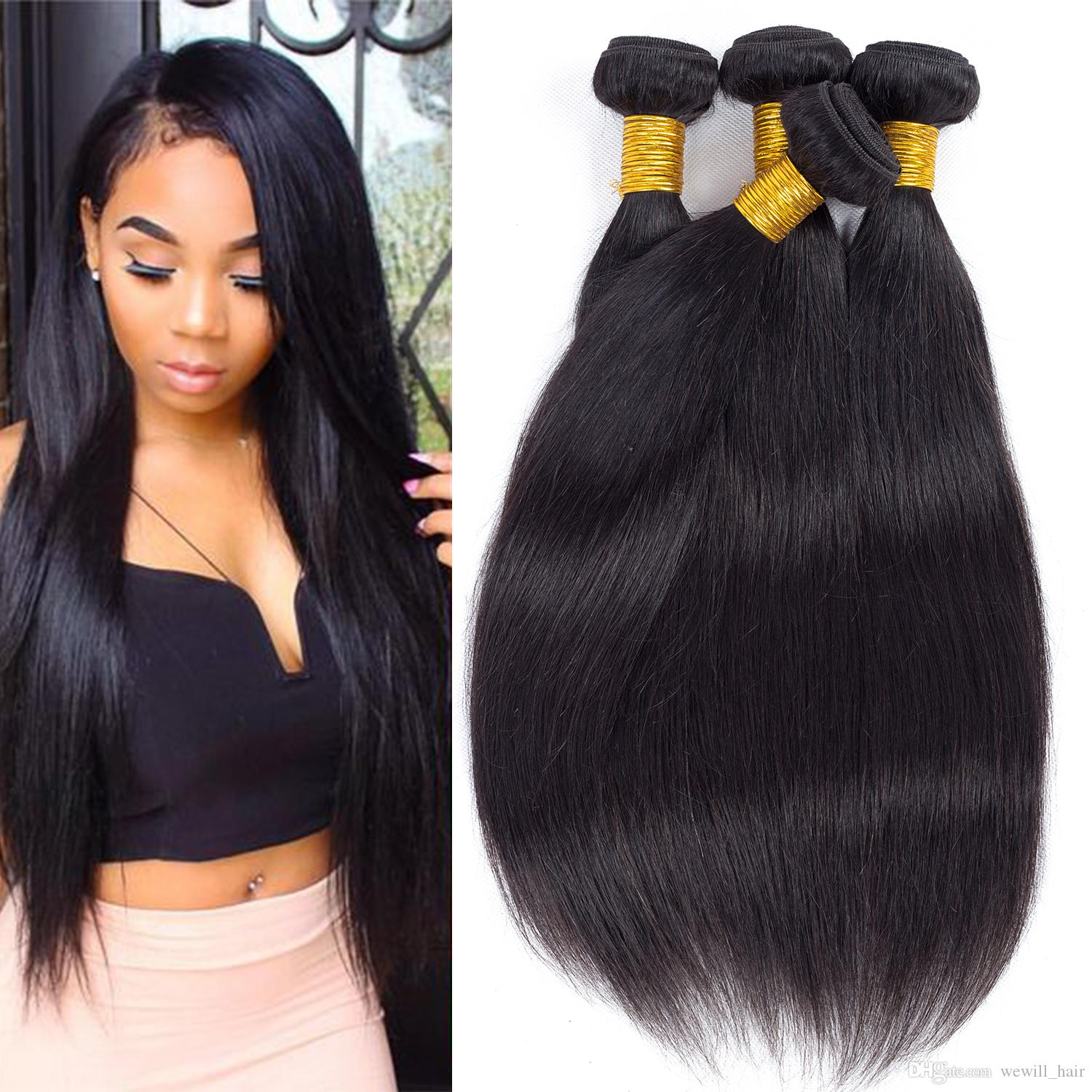 Brazilian Straight Hair Weave Bundles Peruvian Virgin Remy Human