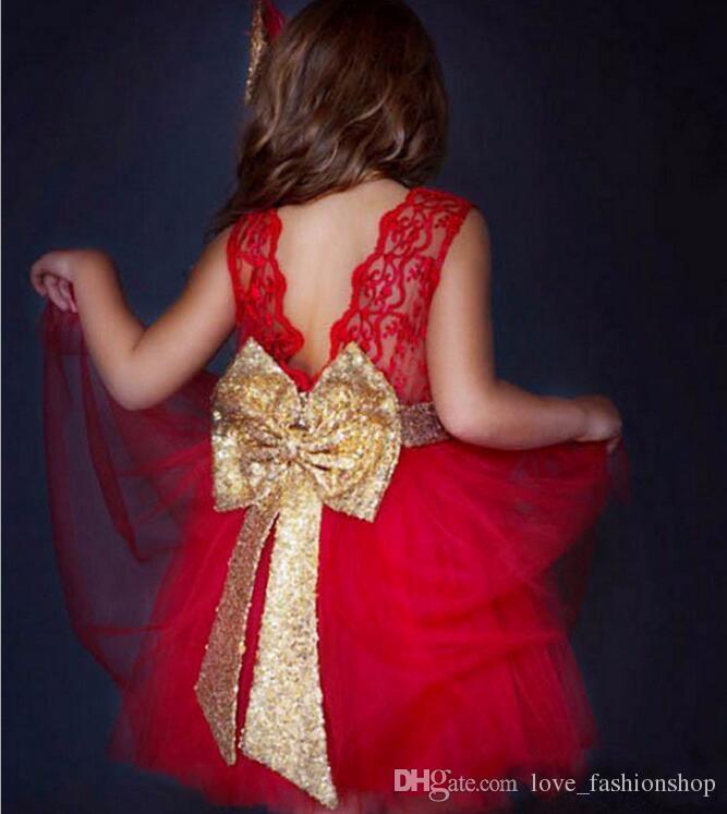 Neonate al minuto grande arco backless abiti bambini pizzo paillettes abito senza maniche ragazze carine sera vestito da promenade del partito principessa bambini panno