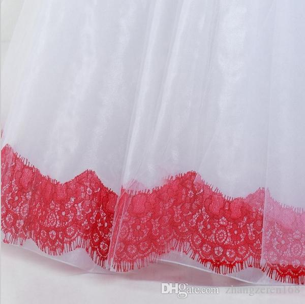 modest beautiful children corset red pageant ball gown prom dress for girls puffy long tulle flower girl dresses white and red