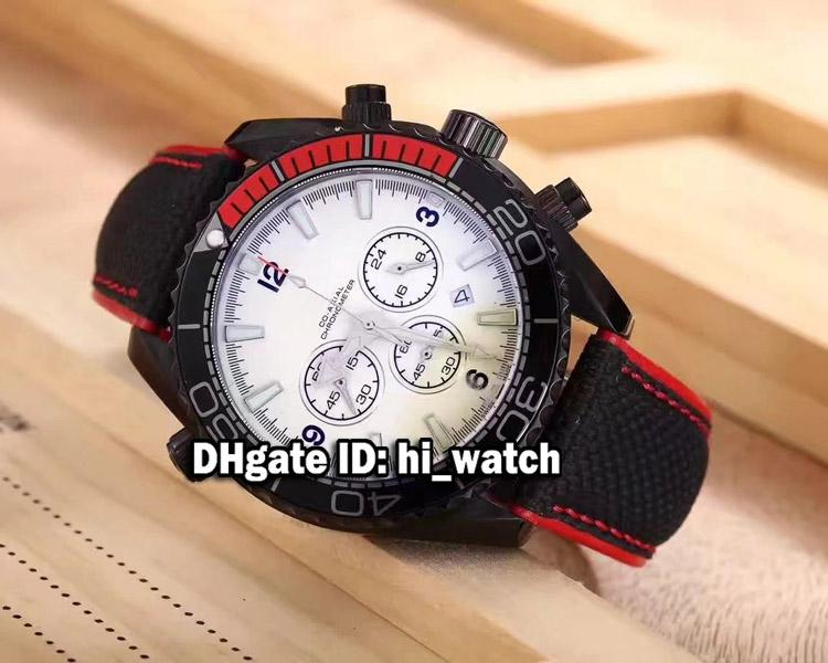 New Planet Ocean Steel Case Miyota Quartz Chronograph Stopwatch Black/Orange Bezel White Dial Mens Watch Leather Waches Hi_watch OMA344b2