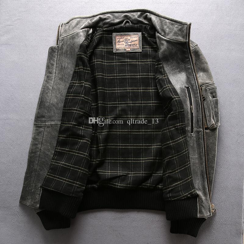 Vintage cinza Avirex voar homens jaquetas de couro de vaca 100% genuíno couro gola jaqueta bomber jaquetas