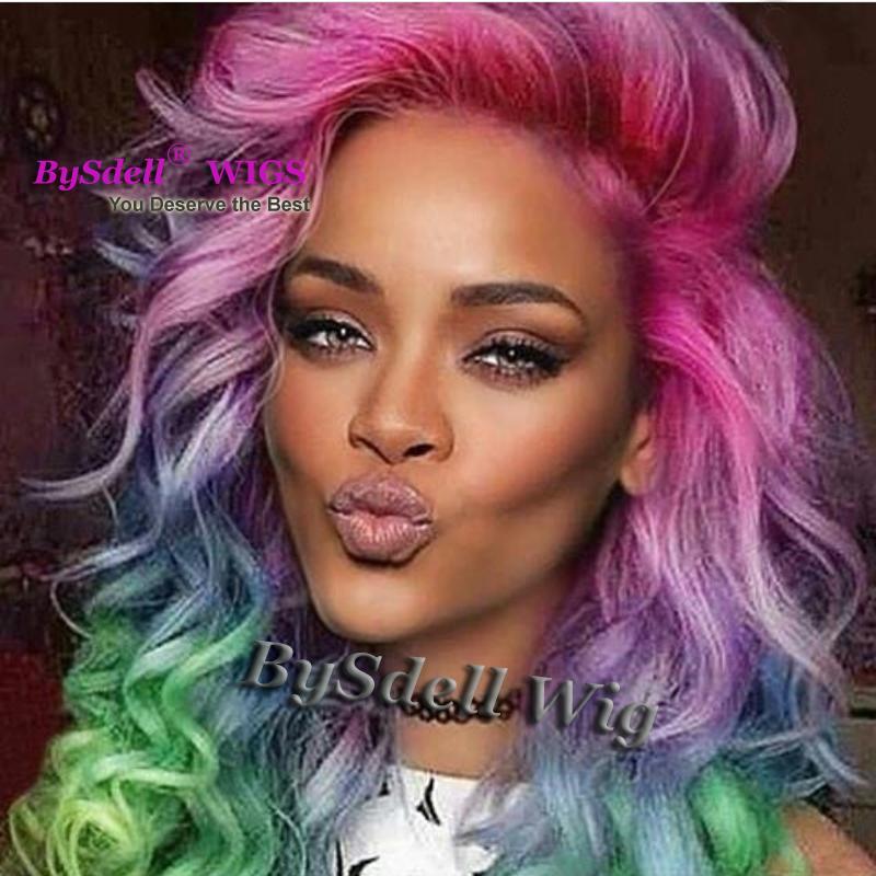 Glamour Bunte Luxus Körperwelle Haar Lace Front Perücke Promi Rihanna Stil Synthetische Patel Unicorn Regenbogen Farbe Haar Volle Spitzefrontseitenperücken
