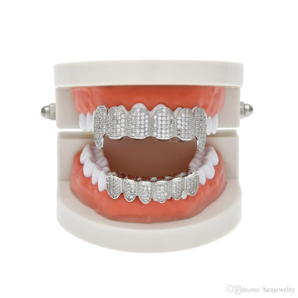New Custom Iced Out Exclusive Luxury Top Bottom Gold Bling Bling Teeth Grillz Set Vampire & Classic Teeth for Men