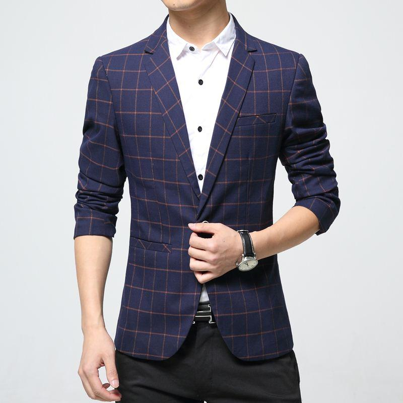 d3440d293f6 Mens Plaid Blazer Cotton Mixed Casual Coat Slim Fit Male Clothing ...