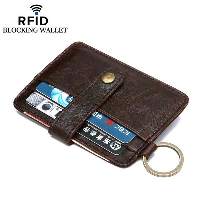 Slim Genuine Leather Men Card Holders Crazy Horse Cowhide Men Wallet ...