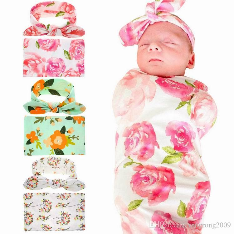 Retail Newborn Baby Floral Receiving Blankets Swaddling Cotton Blankets With Headband Photography props 90*90cm PJ008