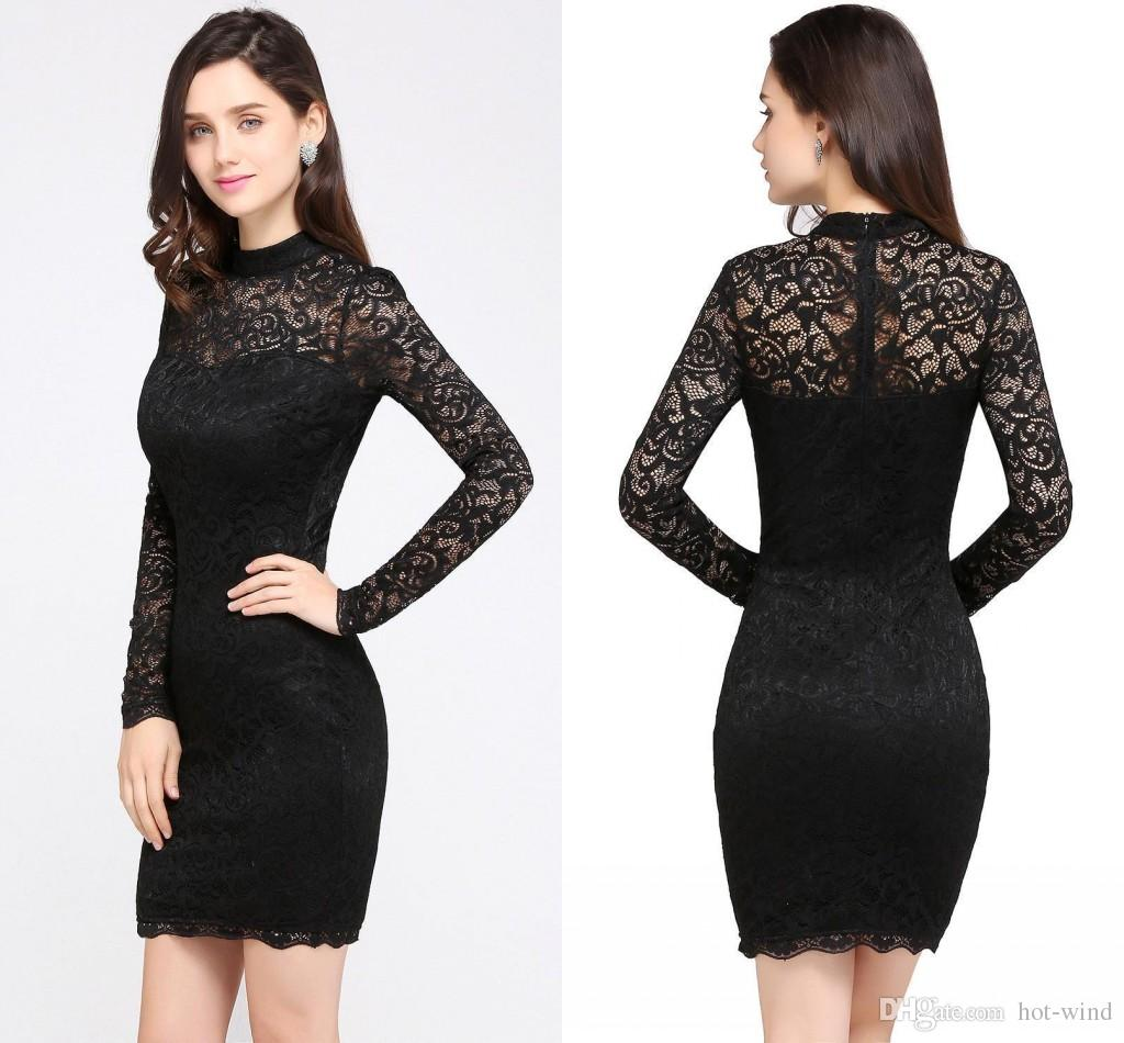 23df604fb8d7 Elegant Black Full Lace Mini Short Cocktail Dresses 2018 New Arrival High  Neck Sheer Long Sleeves Formal Party Wear Cheap In Stock CPS629