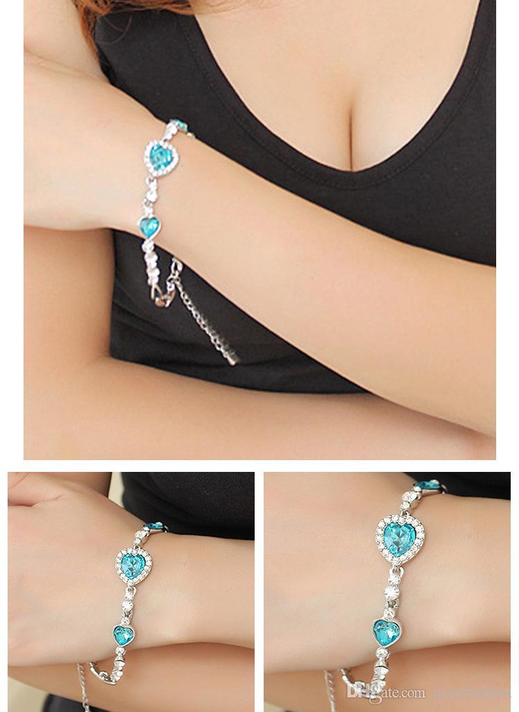 Moda Océano Corazón Cristal Pulsera Mujeres Accesorios de la joyería Protección contra la radiación Brazalete de la aleación Pulseras Cadena de enlace de venta caliente