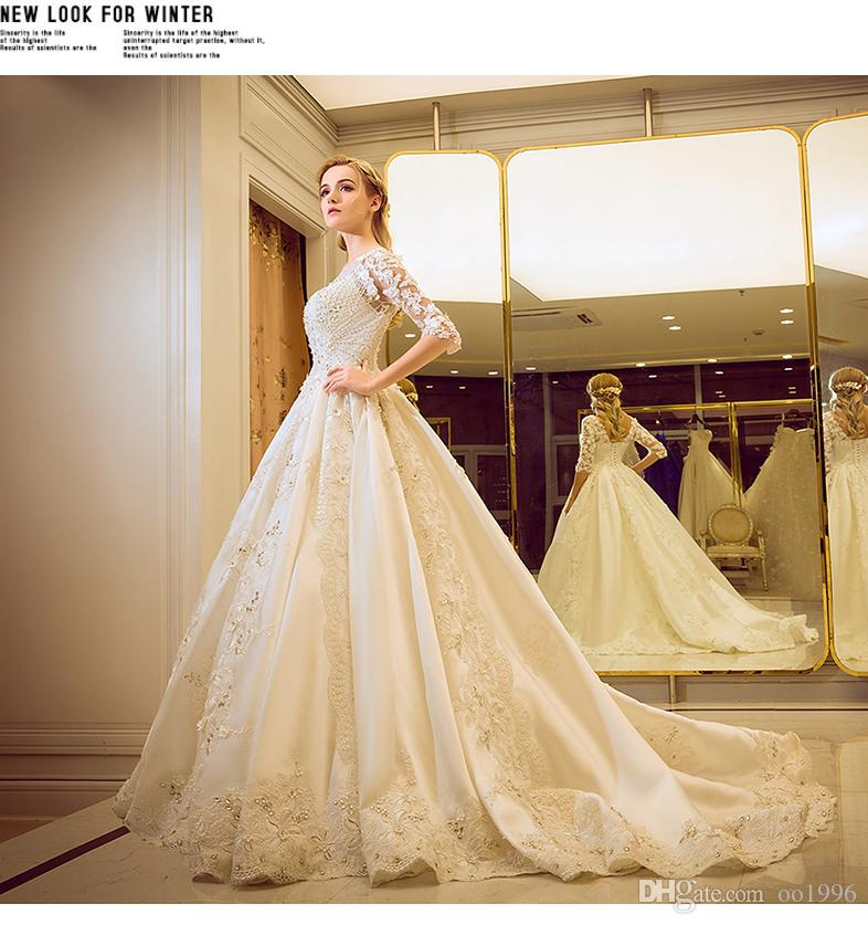 Wedding Dresses The BrideS Long Tailed Uniform Court Sleeves Fluffy Skirt Korean Dress 2017 New Styles Modest Gowns Off Rack