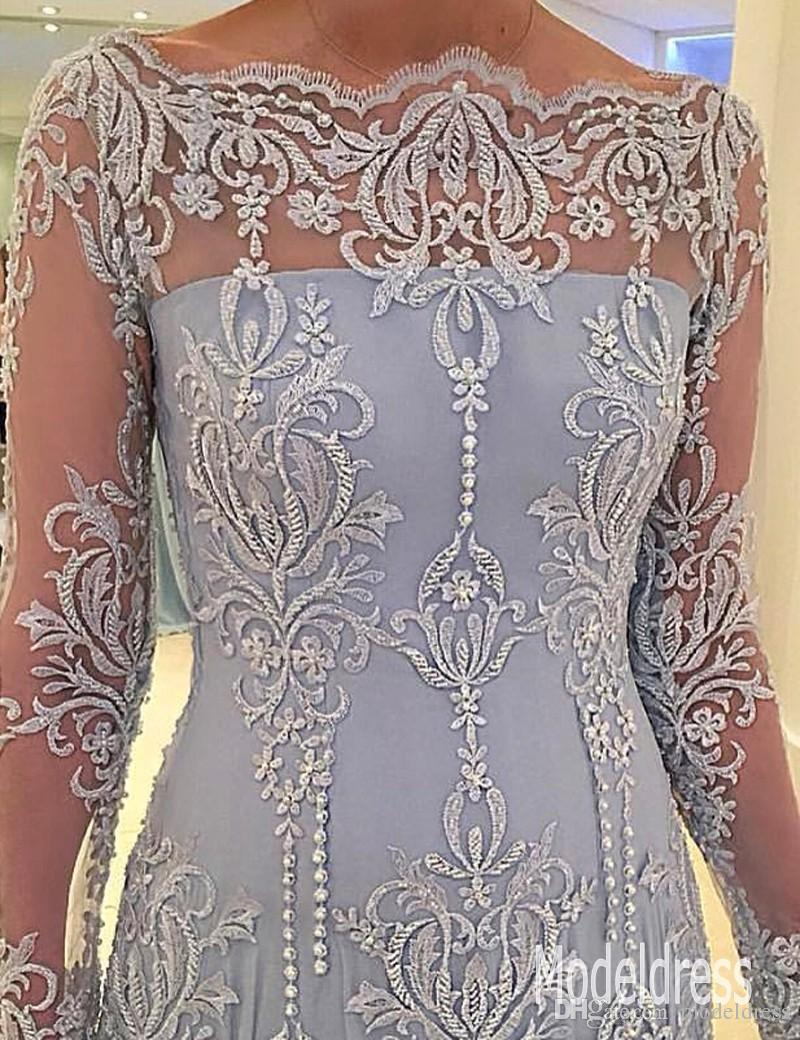 2019 Long Sleeves Formal Mother Of The Bride Dresses Off Shoulder Appliques Lace Pearls Mother Dress Evening Gowns Plus Size Customized