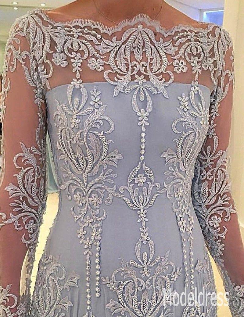 2020 manches longues Mère formelle des robes de mariée Encolure Dentelle Perles Mère Appliques robe de soirée Robes Plus Size sur mesure