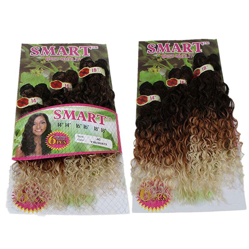 14-18inch Eunice / paquete Jerry rizado de la armadura de la extensión del pelo cose en el tejido sintético tramas paquetes de la cabeza llena de un paquete