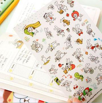 6sheets/set Cute Cartoons Rabbit Diy Album Diary Decor Scrapbooking Stickers Kawaii Sticker On Paper K6538