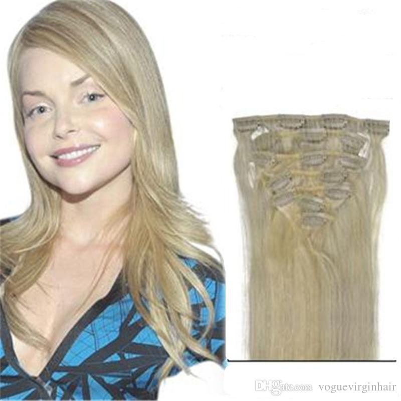 16 22 Inches Blonde Straight Hair Clip Ins Double Weft Human Hair