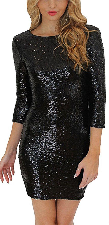 a9f2997eae85 Wowforu Women Sexy Sparkle Glitter Sequin 3/4 Sleeve Bodycon Dress Pencil  Skirt