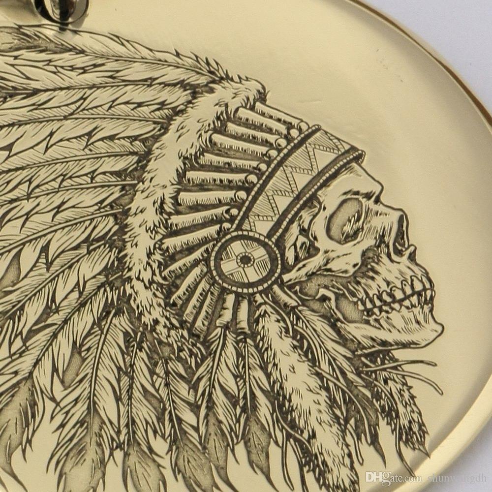LINSION Diamètre gravé au laser avec détails profonds. 35mm laiton rond chef indien pendentif tête de mort Biker Punk Dogtag 9X034B acier Collier 24 pouces