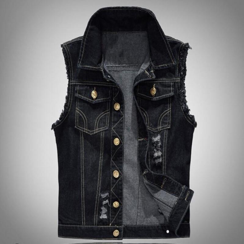 Best wholesale fashion mens motorcycle jean vest black for Mens sleeveless denim shirt wholesale