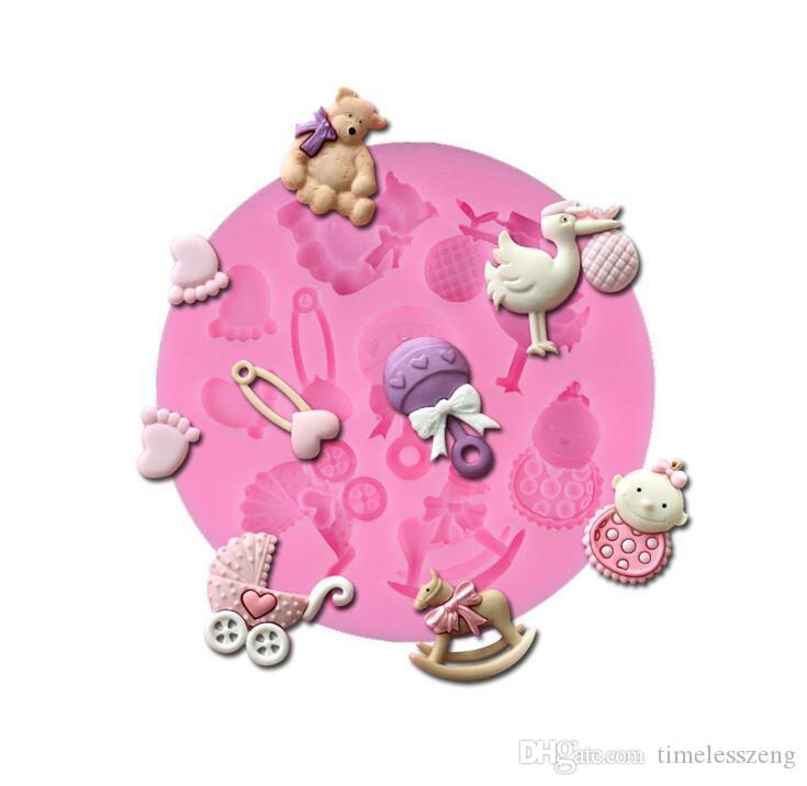 7,8 * 7,8 * 1 cm 3D Bébé Cheval Ours En Silicone Moule Tournez Moule À Gâteau De Sucre Cupcake Jelly Candy Chocolat Décoration