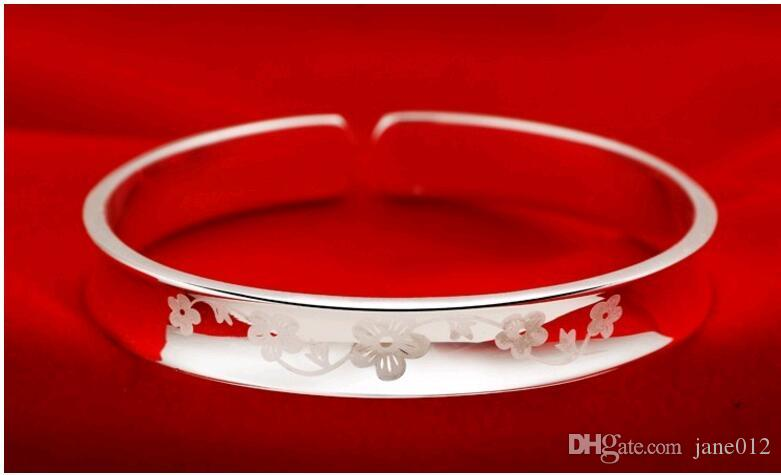 Wholesale Love and deliberation of Plum Blossom Flower Pattern White Copper Silver Plated Women Bracelet Cuffs Sale