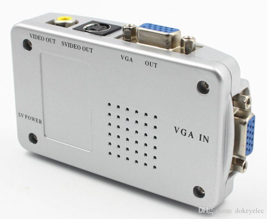 PC VGA to TV AV RCA Signal Adapter Converter S video فيديو Switch Box يتم تضمين كابل VGA s-video usb av