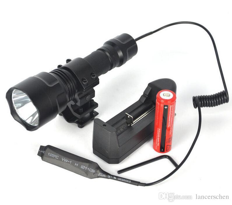 Alta calidad 2000LM linterna C8 XML T6 llevó la linterna Linterna antorcha luz caza Flash Light + 18650 + cargador de batería + pistola montaje