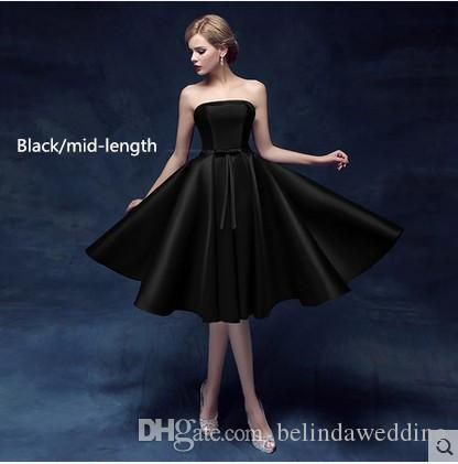 Sexy Little Black Evening Dresses Strapless New Lace Up Mix Prom Dresses With Bow Long Fashion Wear Cheap Dresses Evening Wear