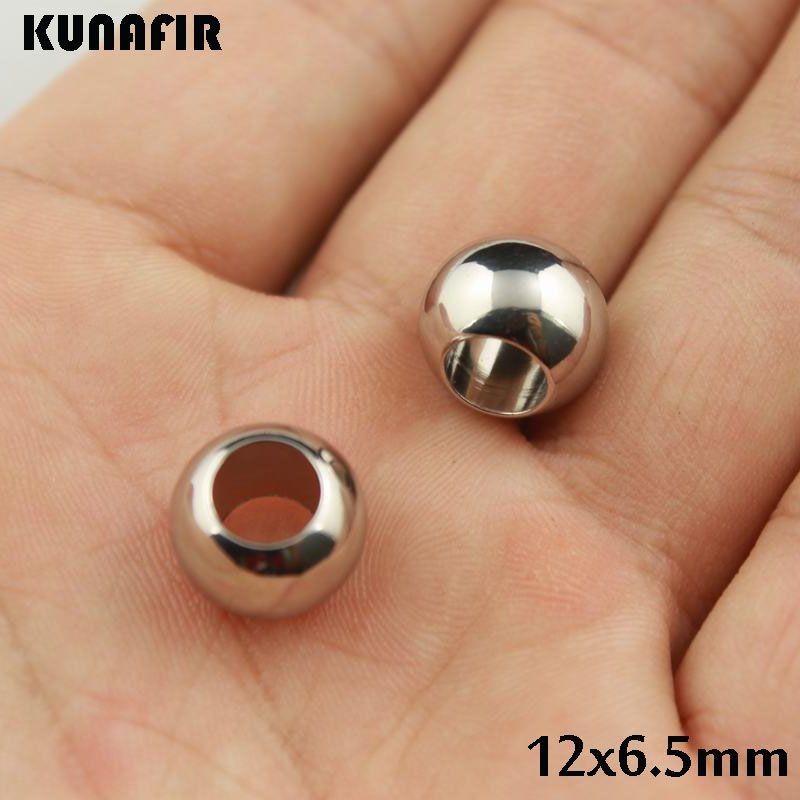 12mm diamètre avec 6.5mm trou lisse en acier inoxydable 316L perles bracelet collier accessoires bijoux pièces de bricolage par ZSP031