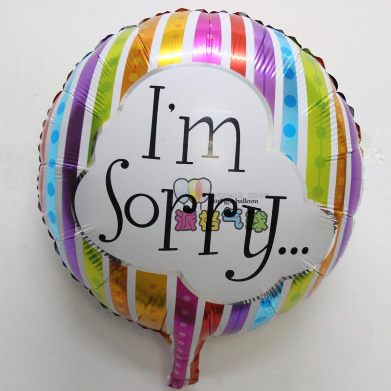 Wholesale 18 Inch I AM SORRY Foil Balloon Birthday Love Party Supplies Helium IM Sorry Mylar Globos Displays Hellium Balloons From