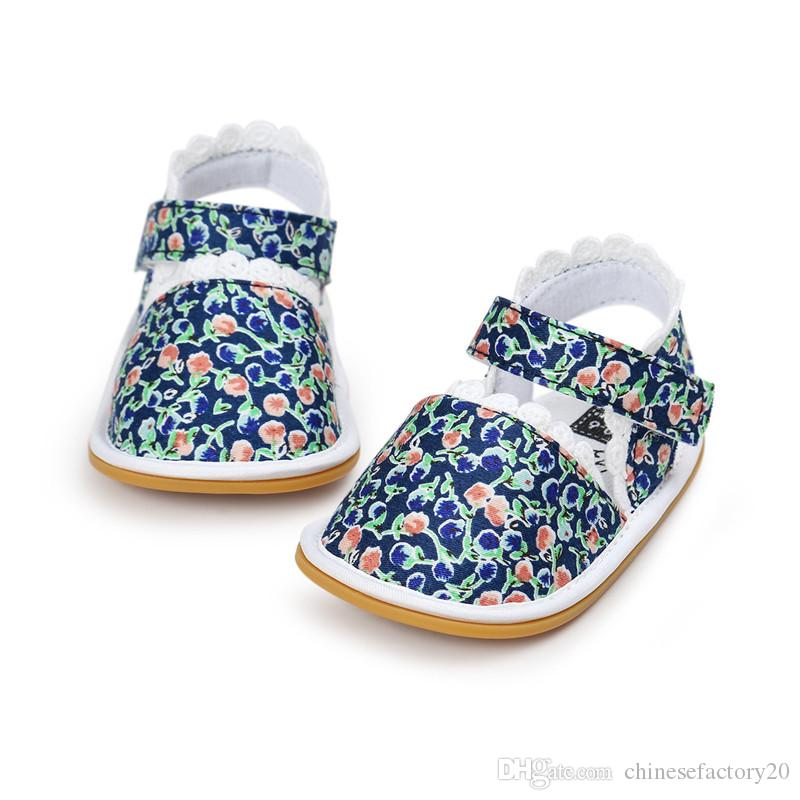 Baby First Walkers Summer Sandals Cotton Fabric Lace Soft Bottoms Kids Soft Sole Infant Printed Stripe Shoes