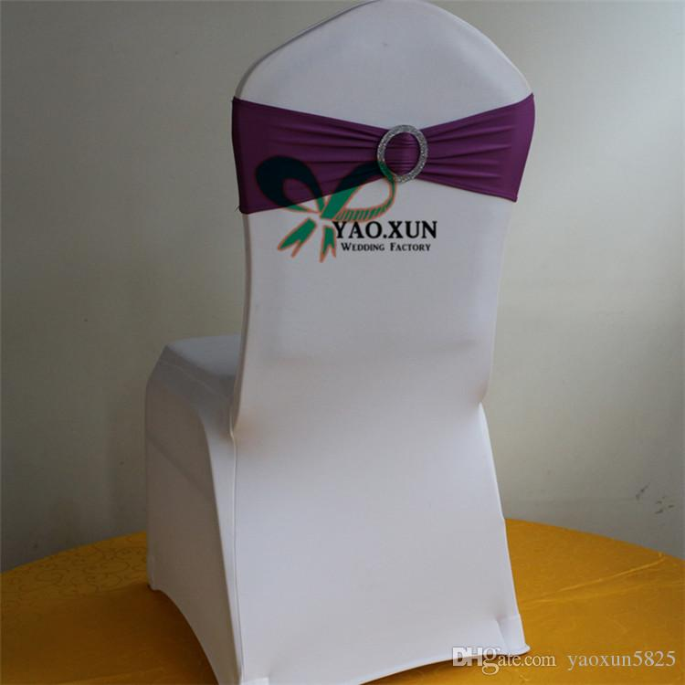 Purple Color Lycra Spandex Chair Band \ Chair Sash With New Buckle For Wedding Chair Cover