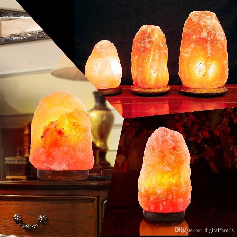 Lámpara de sal de cristal de roca del Himalaya natural Lámparas de luz de noche de sal talladas a mano con cable de alimentación de bulbo de base de madera y interruptor de atenuación