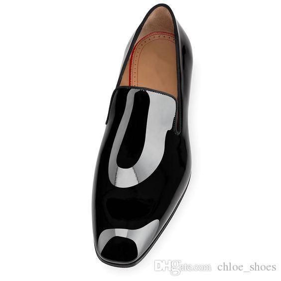 2017 Marka Kırmızı Dipleri Karahindiba Flats Siyah Patent Deri Elbise Ayakkabı Yüksek Kalite Chaussure Femme Mens Ayakkabı Elbise Loafer'lar Ayakkabı Boyutu 46