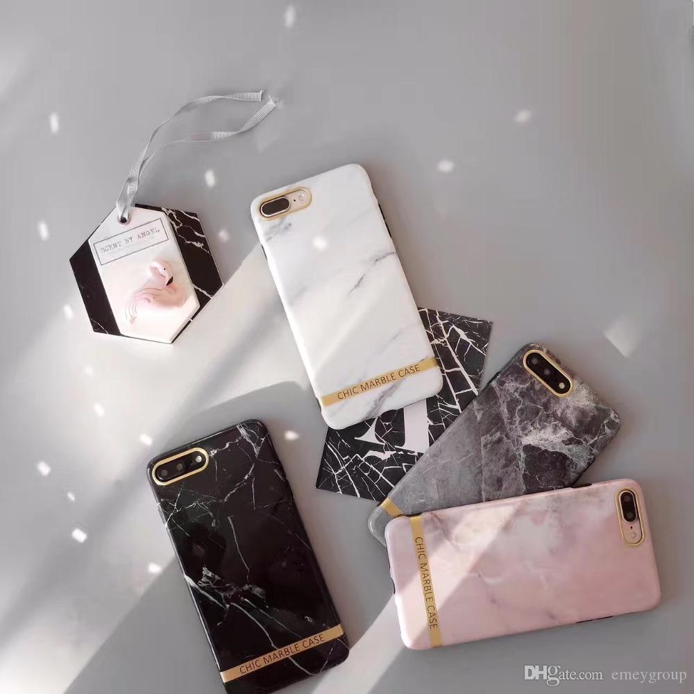 Letter Mobile Phone Case For iPhone x 8 7 Granite Marble Texture Soft IMD Phone Bags Back Cover Case For iphone 7 6 6s Plus HOT