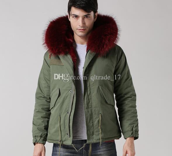 MEIFENG brand wine red fur trim men mini parkas with ykk zipper wine red rabbit fur lining army green canvas jackets short men snow coats