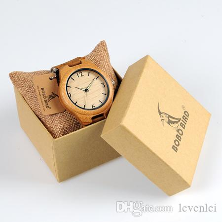 BOBO BIRD A38dh Green Sandalwood Watches Quartz Movement Leather Belt Hour in Box Accept Drop Shipping