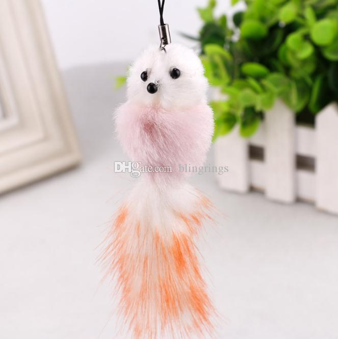 High quality Fashionable fur keychain cute Little Fox simulation rabbit key chain for women Car Keyring Bag Earrings Accessories