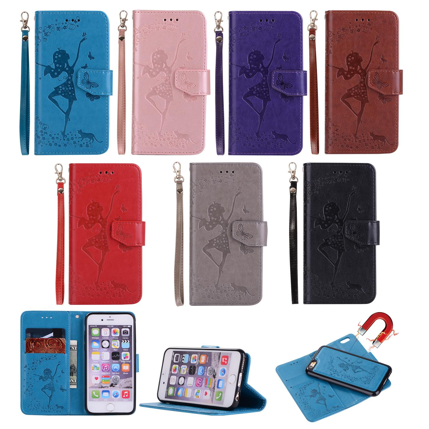 Fairy Sexy Girl 2 in 1 Removable Wallet Leather For Iphone X 8 7 Plus 6 6S SE 5 5S Cute Owl Lady Case Vintage Detachable Flip Magnetic Strap