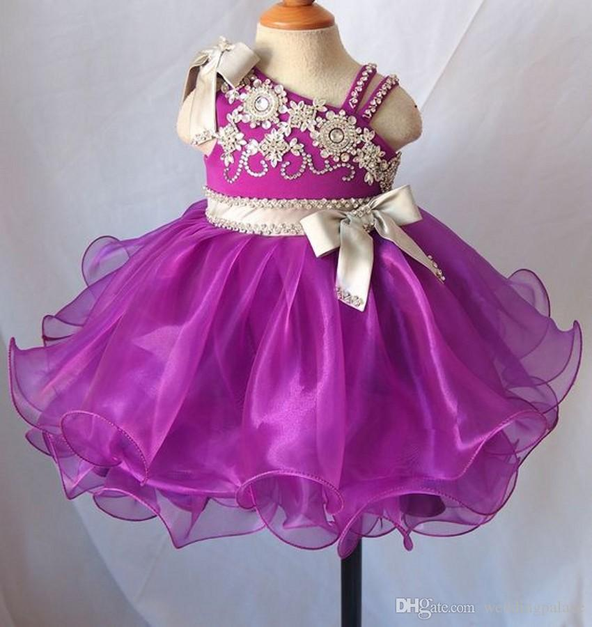 Hot Sale Newest Mini Short Tutu Flower Girl Dresses Beaded Organza Toddler Pageant Dress Kids Party Dresses