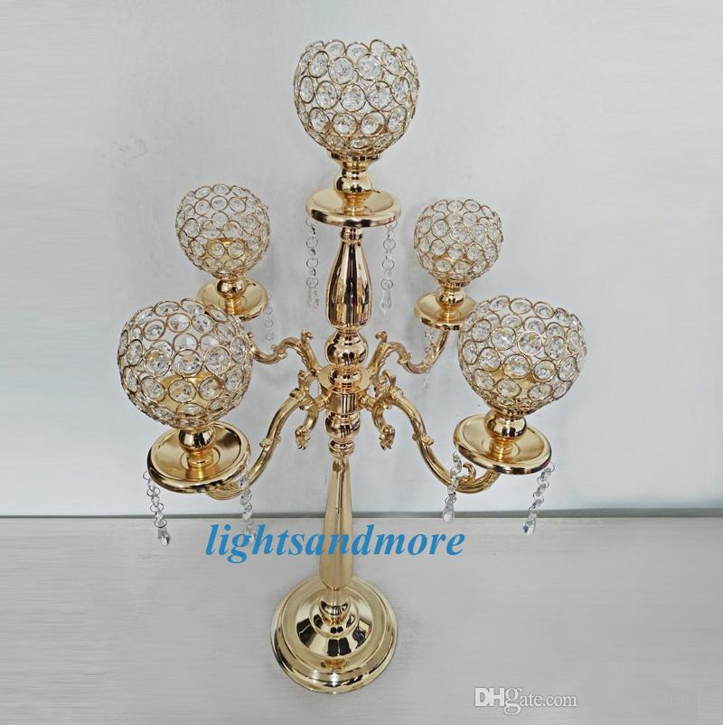 golden silver color 5 arms crystal candelabra table centerpieces candlesticks for wedding party decoration home decor candle holder