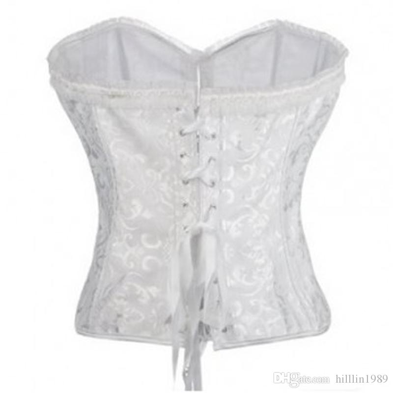 Sexy White Wedding Waist Trainers 5XL 6XL Lace Up Embroidery Bustiers Plus Size Steel Boned Overbust Lace Trim Overbust Corset
