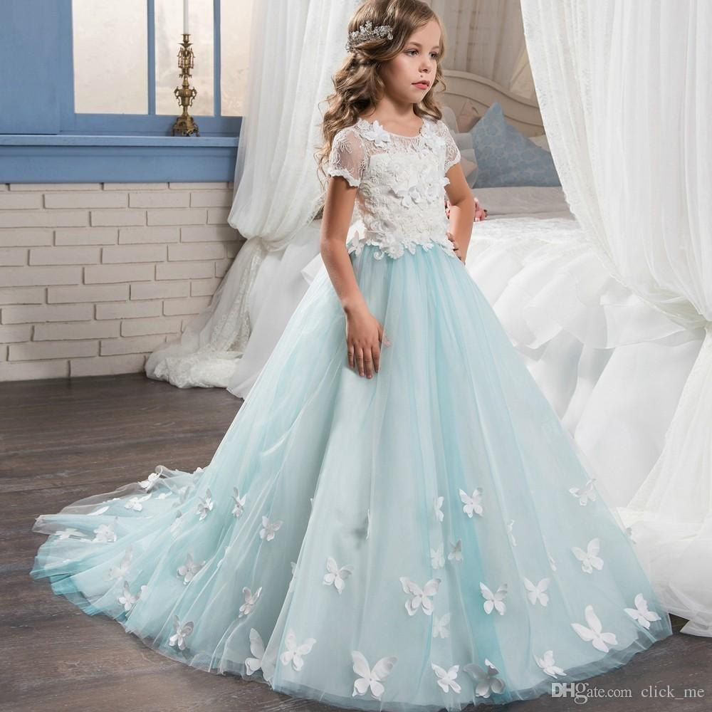 Glitz Lace Flower Girl Dresses With Short Sleeves Butterfly Appliques Graduation Girls Pageant Dress Sheer Back Buttons Kids Wedding Gowns
