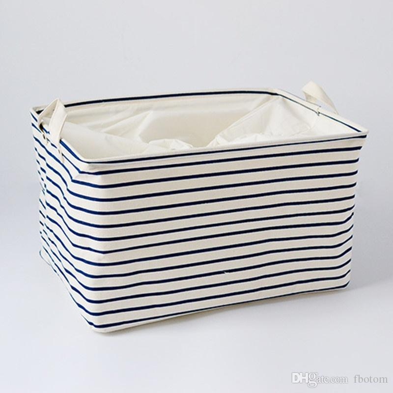Blue Striped Cotton Storage Basket Storage Bags for Kids Toys Dirty Clothes Folding Organizer Clothes Laundry Basket