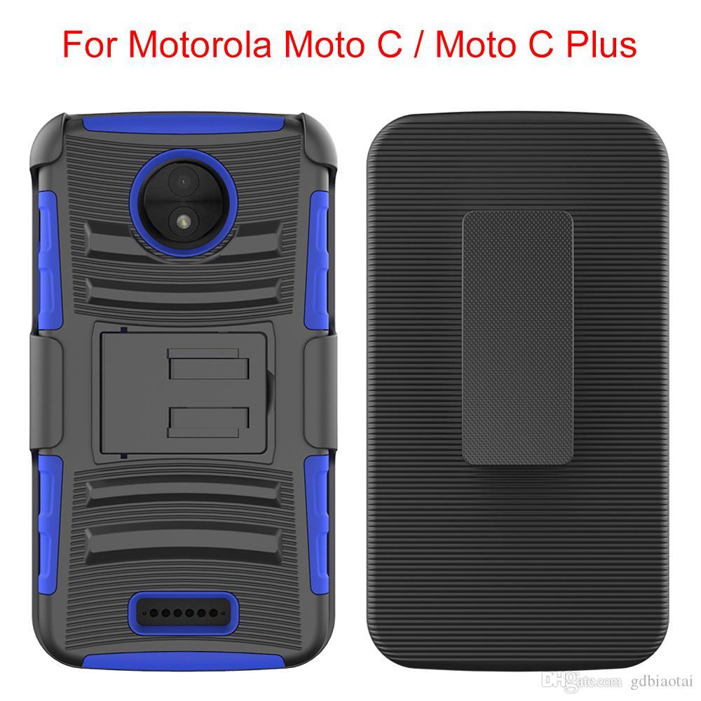 NOVA Super Combo Black Tampa superior e inferior com clipe rotativo de 360 graus à prova de choque e impermeável para Motorola C plus