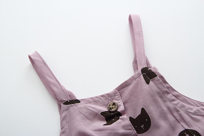Clear Stock Girls Cat Suspender Dresses Outfits 2019 Summer New Kids Boutique Clothing Korean Little Girls Tee Top+Dresses Set