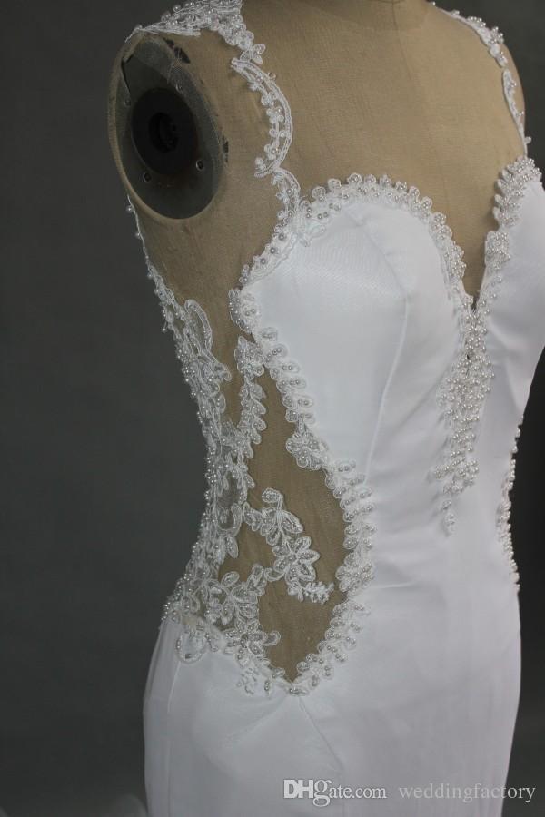 Superbe robe de mariée Sirène Sheer Tulle Back Perles Perles Dentelle Appliques De Jewel Col Connect Habanades équipé Robes de mariée avec Tulle Train